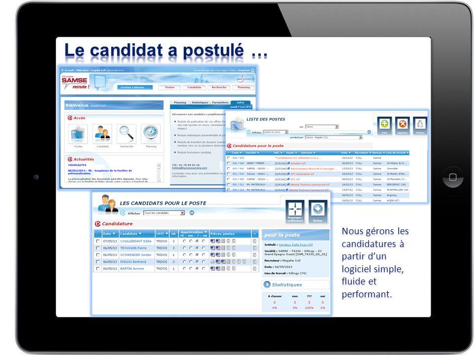 Nous gérons les candidatures à partir d'un logiciel simple, fluide et performant.
