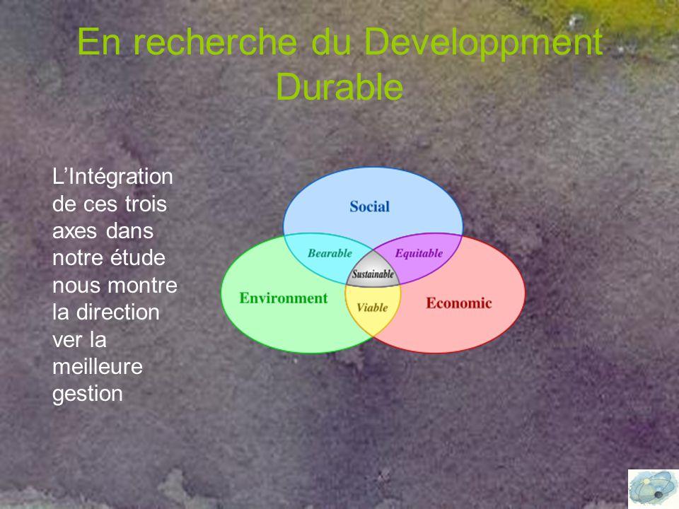 En recherche du Developpment Durable L'Intégration de ces trois axes dans notre étude nous montre la direction ver la meilleure gestion