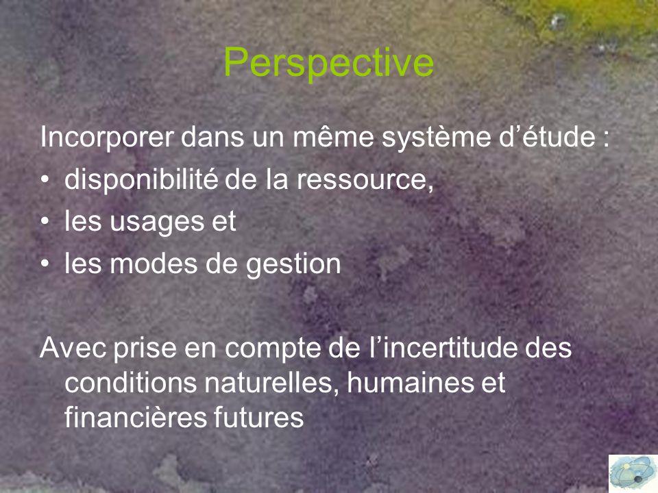 Perspective Incorporer dans un même système d'étude : disponibilité de la ressource, les usages et les modes de gestion Avec prise en compte de l'incertitude des conditions naturelles, humaines et financières futures