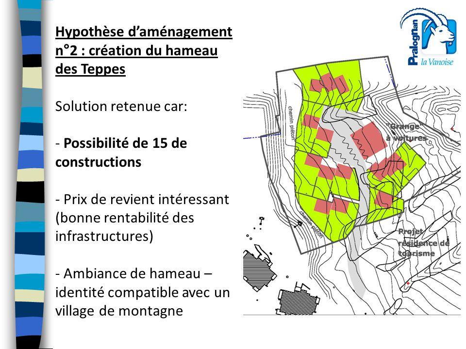 Hypothèse d'aménagement n°2 : création du hameau des Teppes Solution retenue car: - Possibilité de 15 de constructions - Prix de revient intéressant (