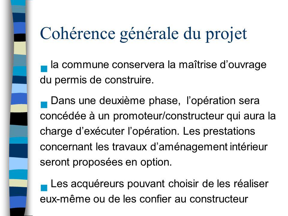 Cohérence générale du projet n la commune conservera la maîtrise d'ouvrage du permis de construire. n Dans une deuxième phase, l'opération sera concéd