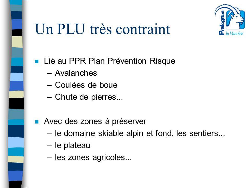 Un PLU très contraint n Lié au PPR Plan Prévention Risque –Avalanches –Coulées de boue –Chute de pierres... n Avec des zones à préserver –le domaine s