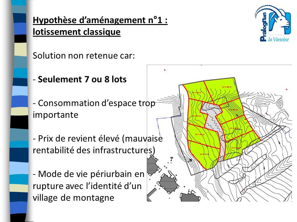Hypothèse d'aménagement n°1 : lotissement classique Solution non retenue car: - Seulement 7 ou 8 lots - Consommation d'espace trop importante - Prix d