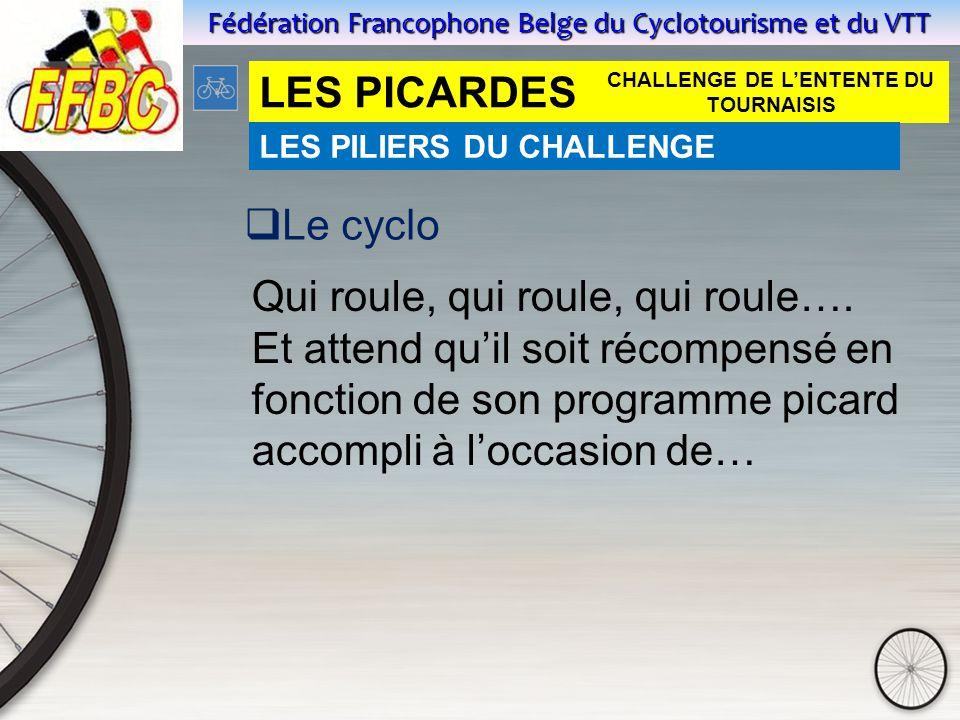 Fédération Francophone Belge du Cyclotourisme et du VTT LES PICARDES  Le cyclo Qui roule, qui roule, qui roule….