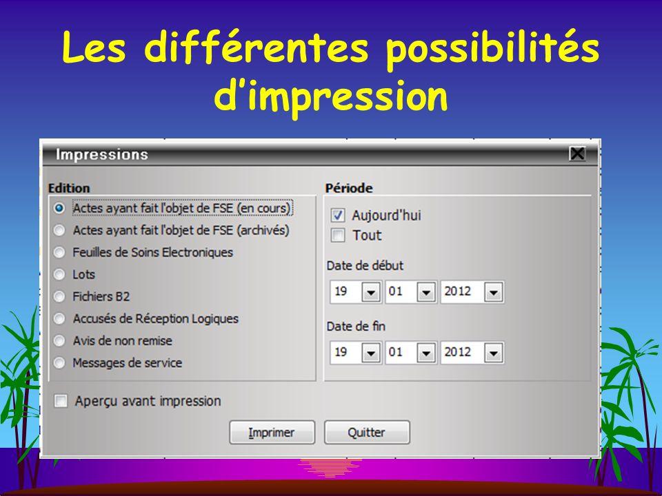 Les différentes possibilités d'impression