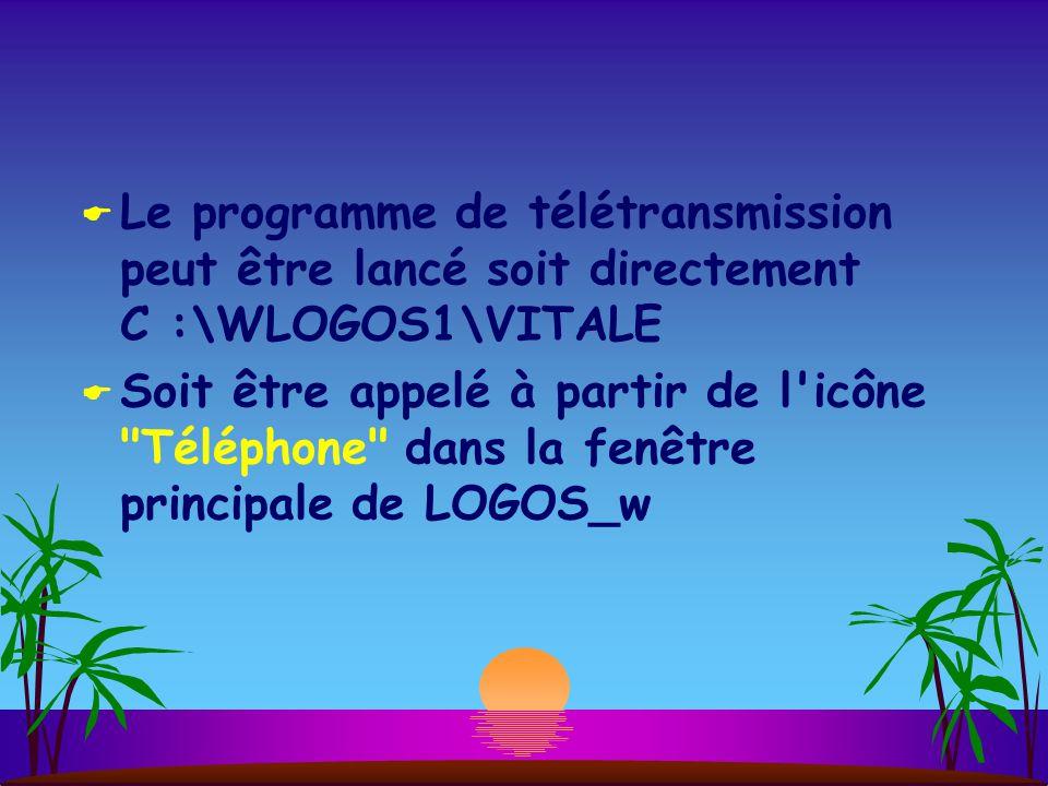  Le programme de télétransmission peut être lancé soit directement C :\WLOGOS1\VITALE  Soit être appelé à partir de l icône Téléphone dans la fenêtre principale de LOGOS_w