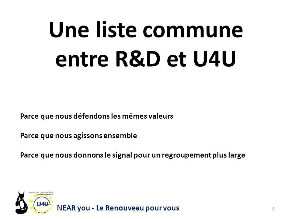 NEAR you - Le Renouveau pour vous 6 Une liste commune entre R&D et U4U Parce que nous défendons les mêmes valeurs Parce que nous agissons ensemble Parce que nous donnons le signal pour un regroupement plus large