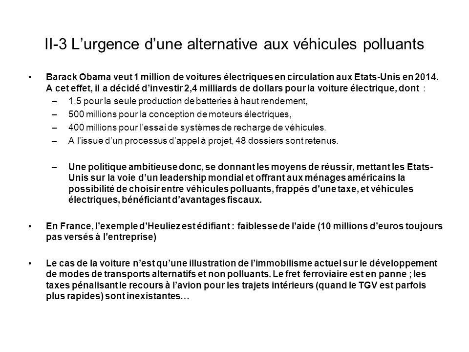 II-3 L'urgence d'une alternative aux véhicules polluants Barack Obama veut 1 million de voitures électriques en circulation aux Etats-Unis en 2014.