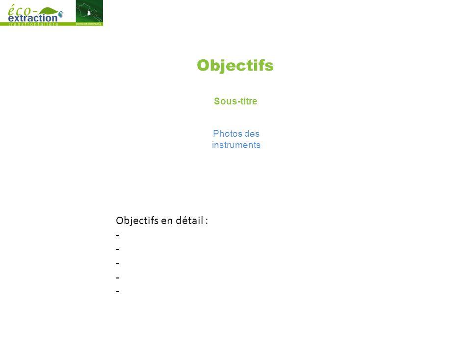 Objectifs Sous-titre Photos des instruments Objectifs en détail : -