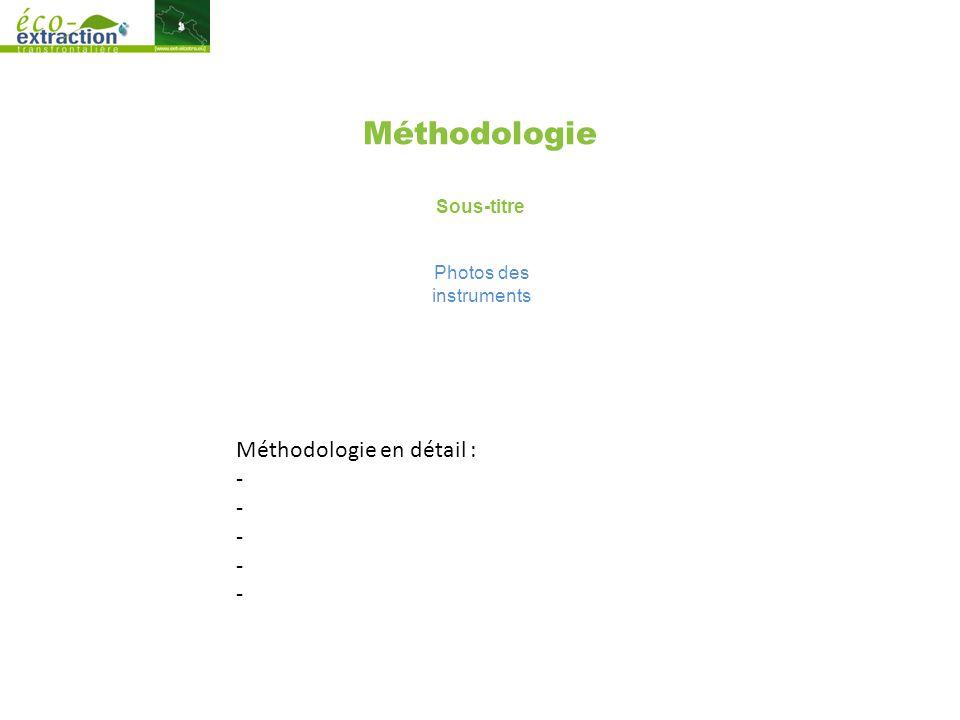 Méthodologie Sous-titre Photos des instruments Méthodologie en détail : -