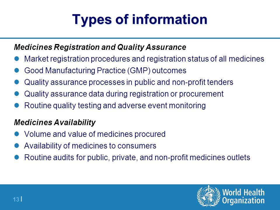 13 | Types of information Medicines Registration and Quality Assurance Market registration procedures and registration status of all medicines Good Ma