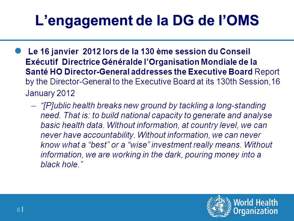 6 |6 | L'engagement de la DG de l'OMS Le 16 janvier 2012 lors de la 130 ème session du Conseil Exécutif Directrice Généralde l'Organisation Mondiale d