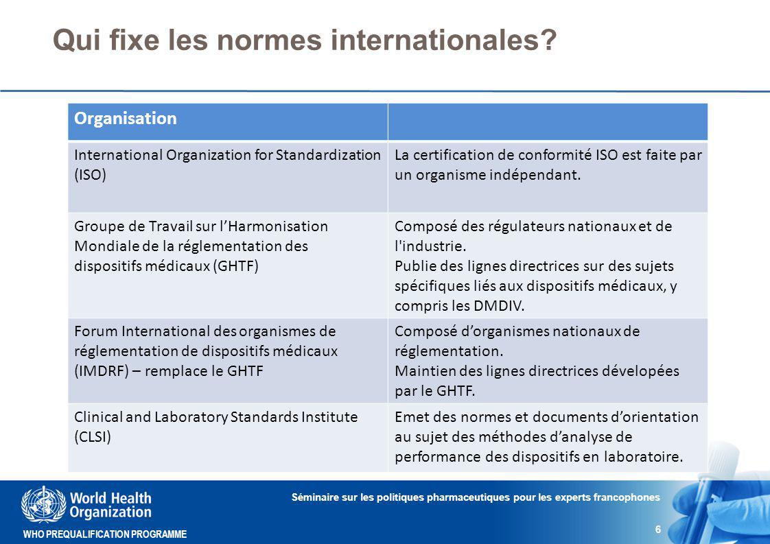 WHO PREQUALIFICATION PROGRAMME Qui fixe les normes internationales.
