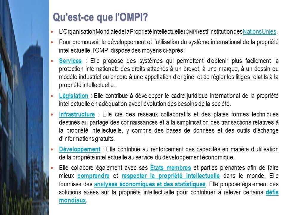 Qu'est-ce que l'OMPI? Qu'est-ce que l'OMPI? L'Organisation Mondiale de la Propriété Intellectuelle ( OMPI ) est l'institution des Nations Unies. Natio