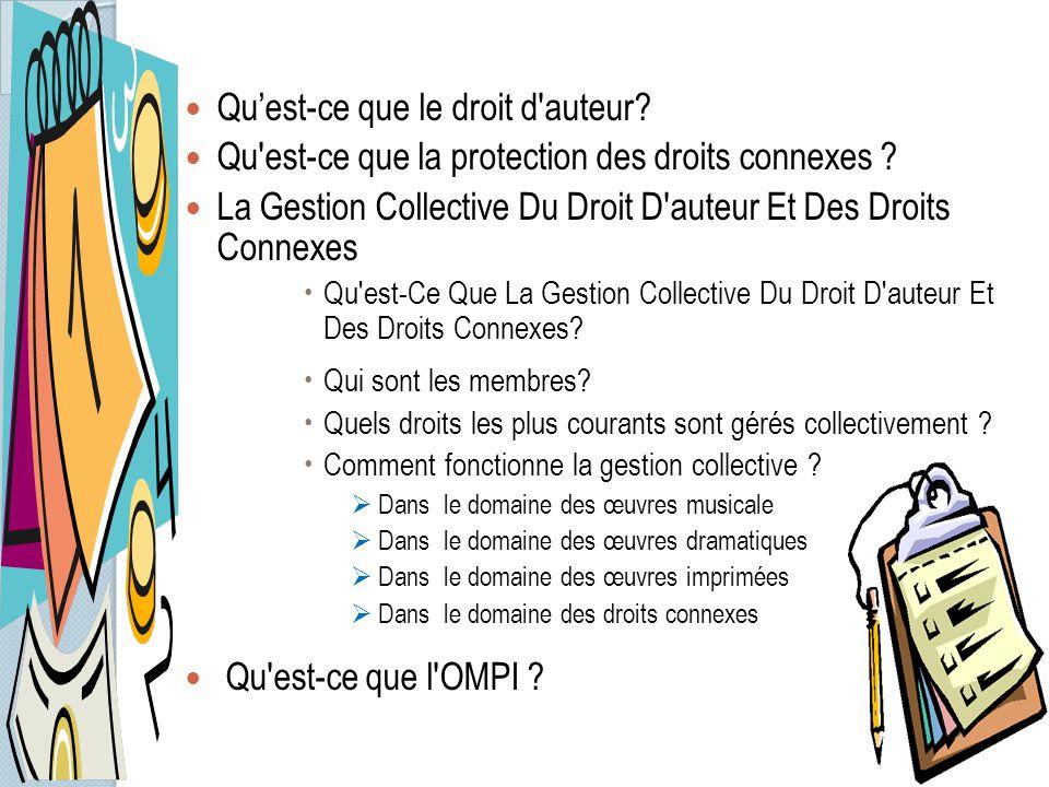 Qu'est-ce que le droit d'auteur? Qu'est-ce que la protection des droits connexes ? La Gestion Collective Du Droit D'auteur Et Des Droits Connexes  Qu