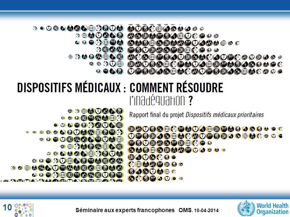 10 Séminaire aux experts francophones OMS. 10-04-2014