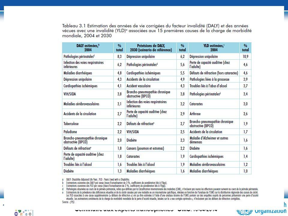 13 Séminaire aux experts francophones OMS. 10-04-2014