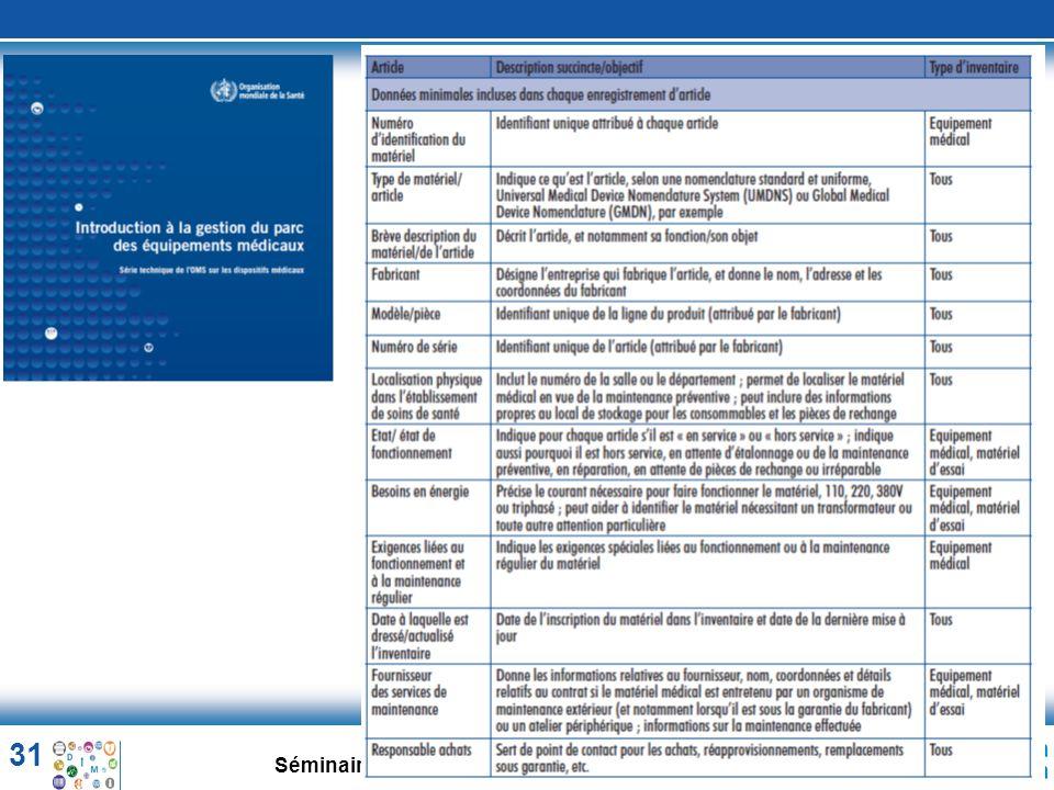 31 Séminaire aux experts francophones OMS. 10-04-2014