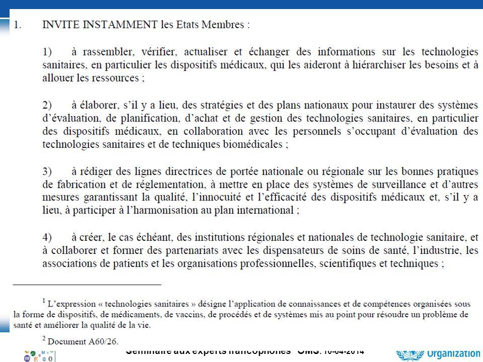 35 Séminaire aux experts francophones OMS.