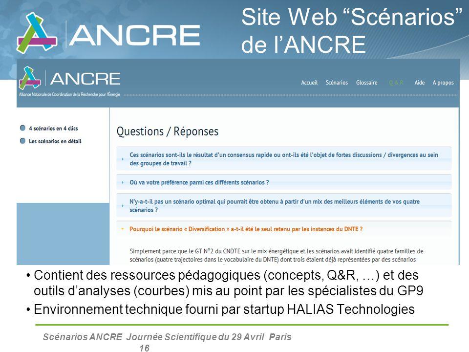Scénarios ANCRE Journée Scientifique du 29 Avril Paris 16 Contient des ressources pédagogiques (concepts, Q&R, …) et des outils d'analyses (courbes) m