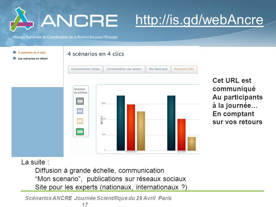 """Scénarios ANCRE Journée Scientifique du 29 Avril Paris 17 La suite : Diffusion à grande échelle, communication """"Mon scenario"""", publications sur réseau"""