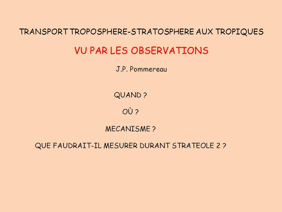TRANSPORT TROPOSPHERE-STRATOSPHERE AUX TROPIQUES VU PAR LES OBSERVATIONS J.P. Pommereau QUAND ? OÙ ? MECANISME ? QUE FAUDRAIT-IL MESURER DURANT STRATE