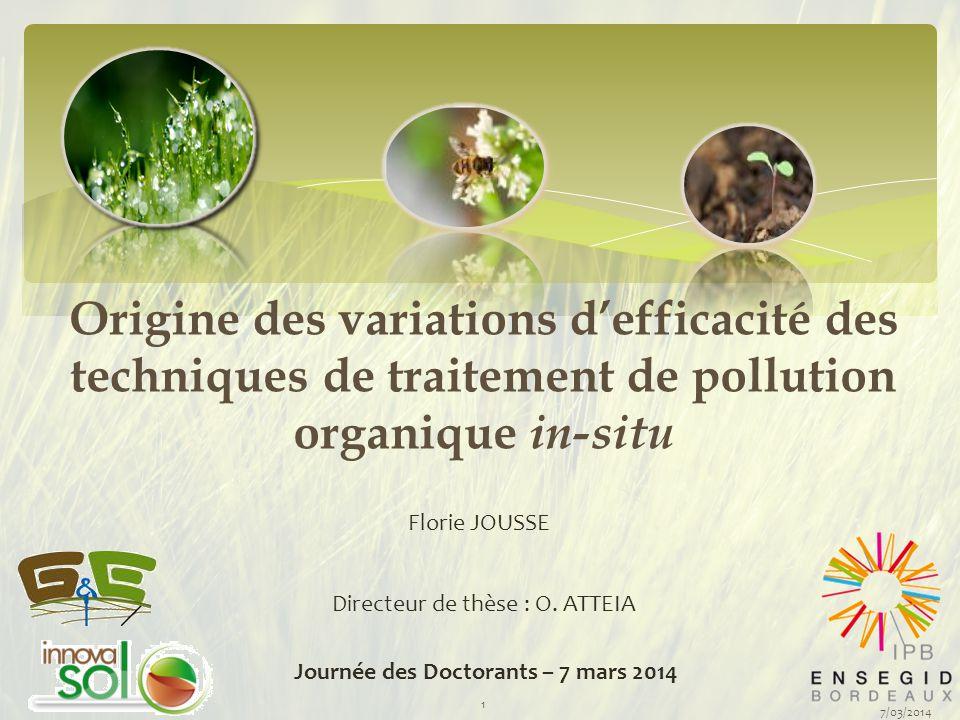 Origine des variations d'efficacité des techniques de traitement de pollution organique in-situ Florie JOUSSE Journée des Doctorants – 7 mars 2014 Dir