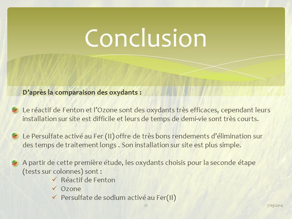 Conclusion 7/03/201417 D'après la comparaison des oxydants : Le réactif de Fenton et l'Ozone sont des oxydants très efficaces, cependant leurs install