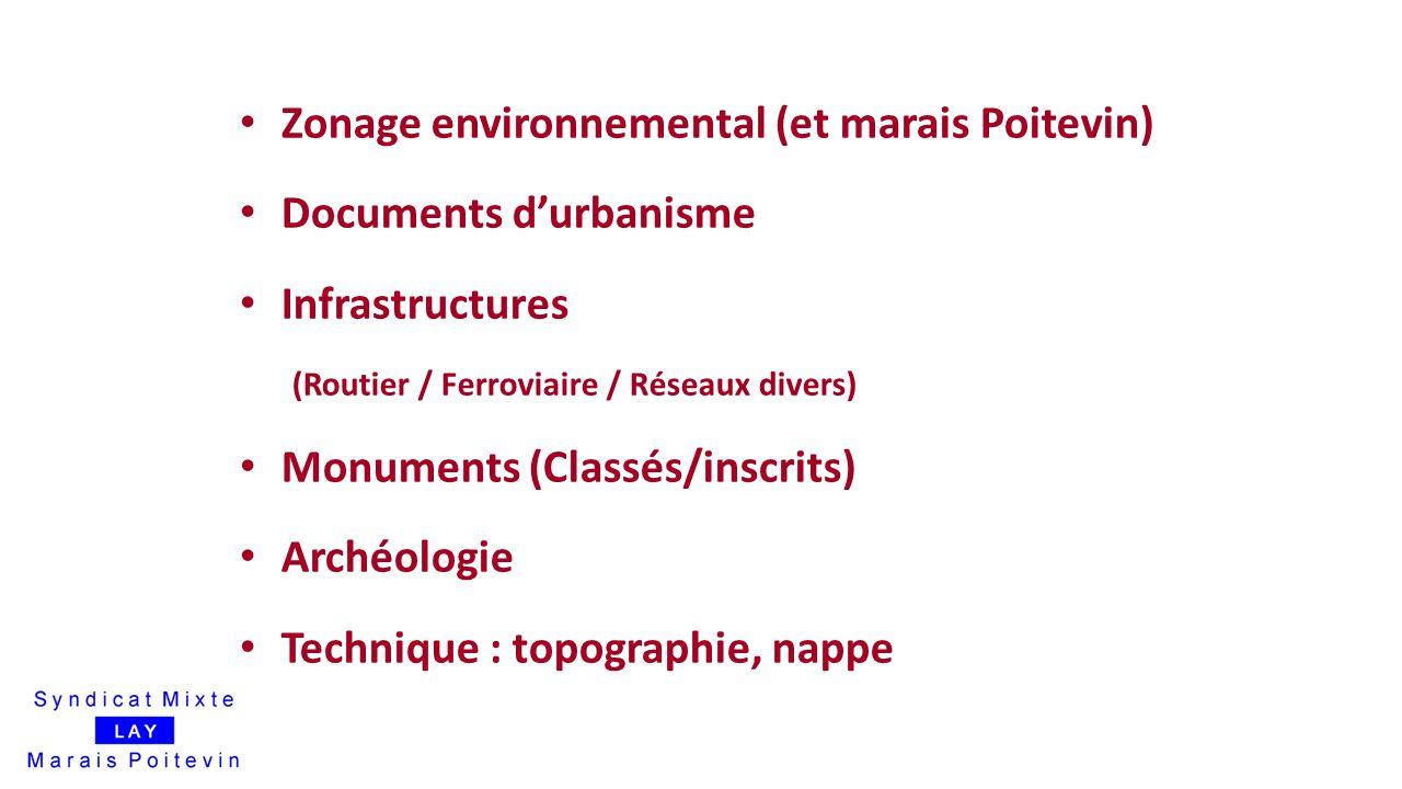 16 Zonage environnemental (et marais Poitevin) Documents d'urbanisme Infrastructures (Routier / Ferroviaire / Réseaux divers) Monuments (Classés/inscr