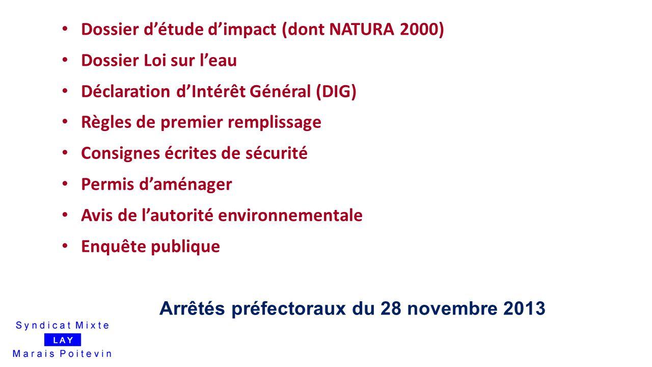 20 Dossier d'étude d'impact (dont NATURA 2000) Dossier Loi sur l'eau Déclaration d'Intérêt Général (DIG) Règles de premier remplissage Consignes écrit