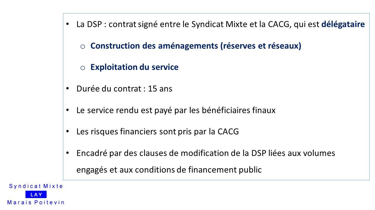 La DSP : contrat signé entre le Syndicat Mixte et la CACG, qui est délégataire o Construction des aménagements (réserves et réseaux) o Exploitation du