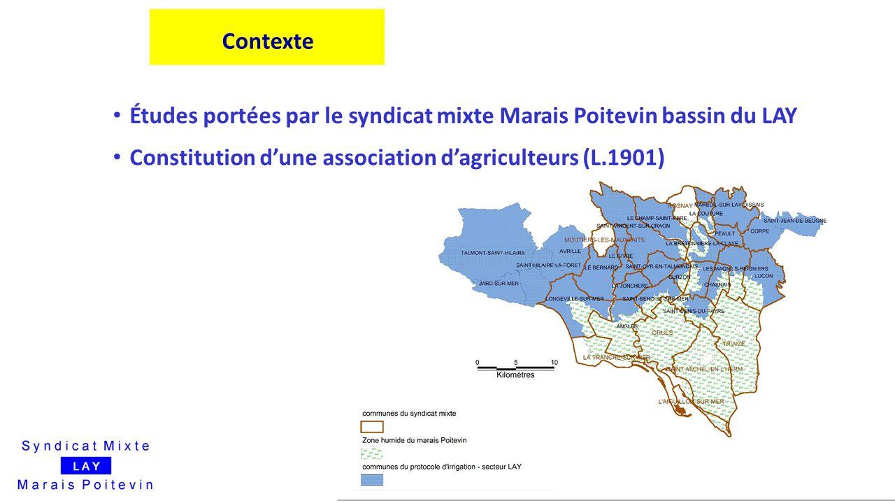 Contexte Études portées par le syndicat mixte Marais Poitevin bassin du LAY Constitution d'une association d'agriculteurs (L.1901)