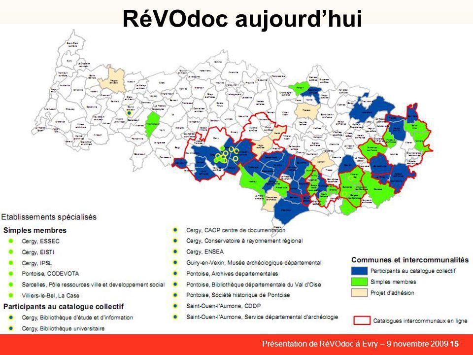 Présentation de RéVOdoc à Evry – 9 novembre 2009 15 RéVOdoc aujourd'hui