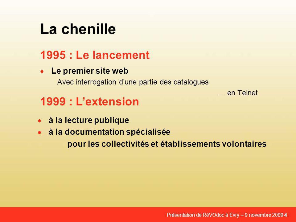Présentation de RéVOdoc à Evry – 9 novembre 2009 4 1995 : Le lancement La chenille  Le premier site web Avec interrogation d'une partie des catalogues … en Telnet 1999 : L'extension  à la lecture publique  à la documentation spécialisée pour les collectivités et établissements volontaires