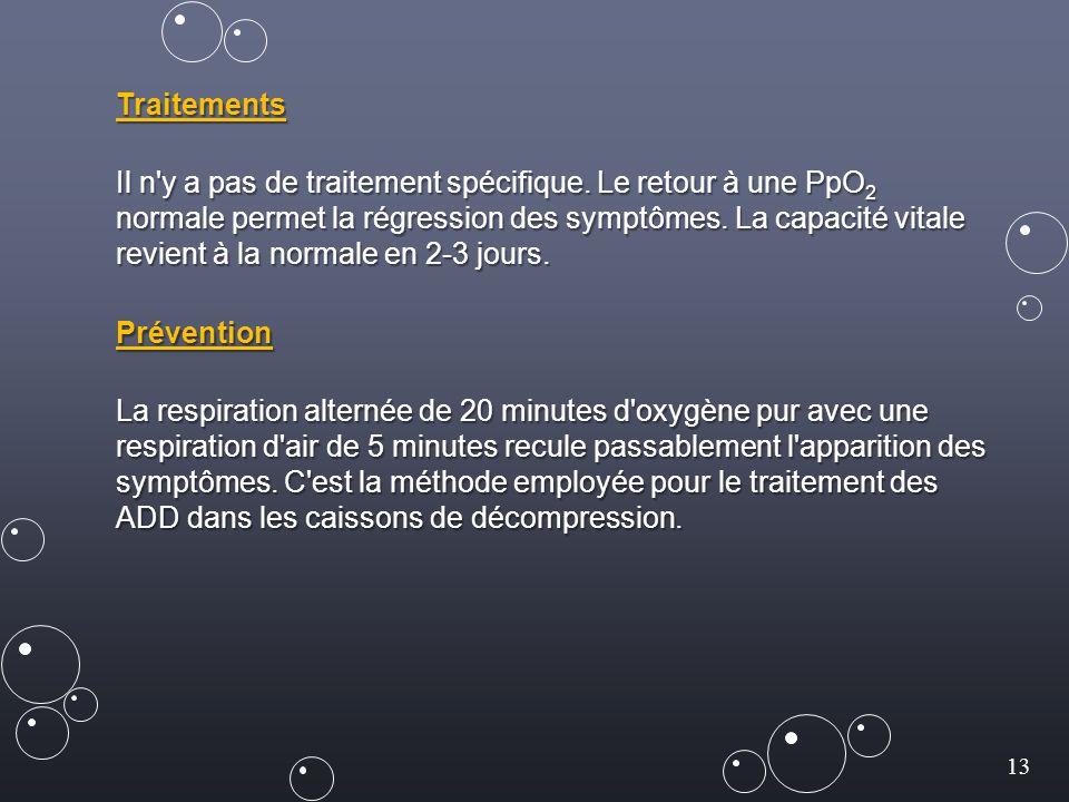 13 Traitements Il n'y a pas de traitement spécifique. Le retour à une PpO 2 normale permet la régression des symptômes. La capacité vitale revient à l