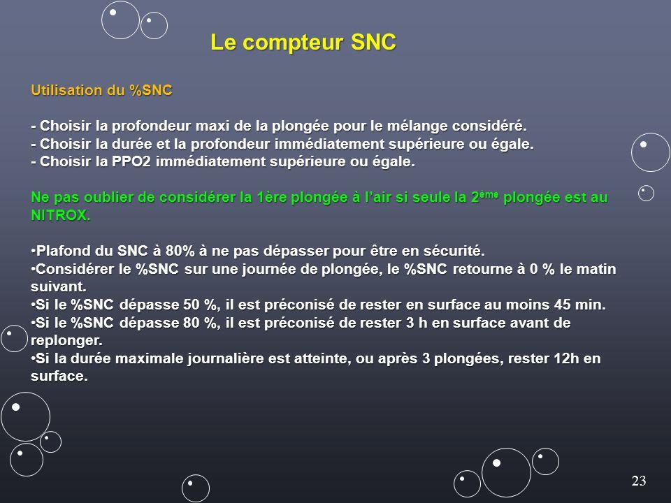 23 Le compteur SNC Utilisation du %SNC - Choisir la profondeur maxi de la plongée pour le mélange considéré. - Choisir la durée et la profondeur imméd