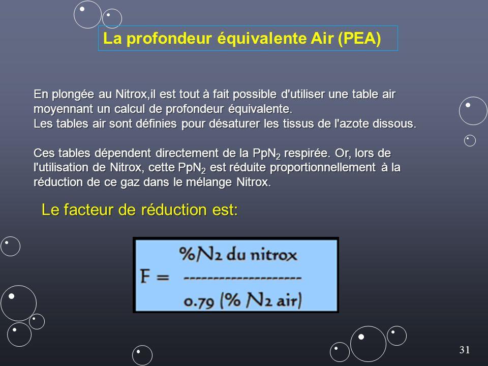 31 En plongée au Nitrox,il est tout à fait possible d utiliser une table air moyennant un calcul de profondeur équivalente.