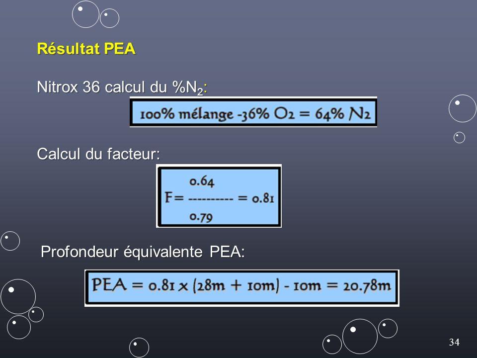 34 Résultat PEA Nitrox 36 calcul du %N 2 : Calcul du facteur: Profondeur équivalente PEA: