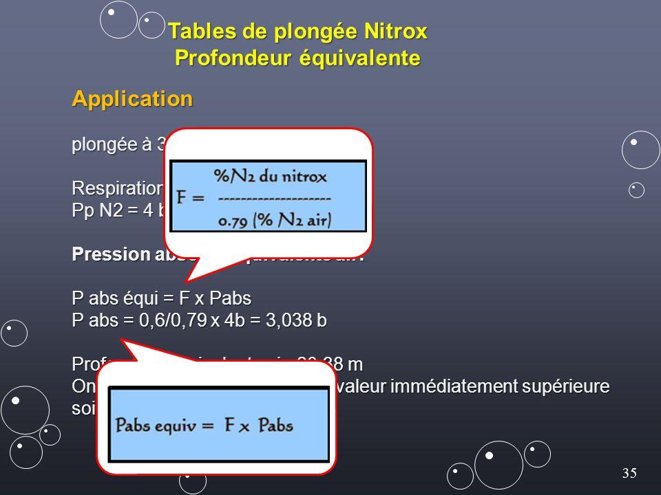 35 Tables de plongée Nitrox Profondeur équivalente Application plongée à 30 m de profondeur réelle Respiration au Nitrox 40/60 : Pp N2 = 4 b x 0,6 = 2,4 b Pression absolue équivalente air: P abs équi = F x Pabs P abs = 0,6/0,79 x 4b = 3,038 b Profondeur équivalente air: 20,38 m On prend dans la table MN90 la valeur immédiatement supérieure soit 22 m