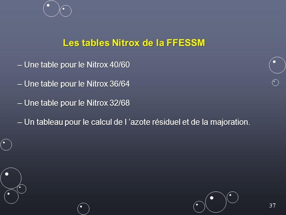 37 Les tables Nitrox de la FFESSM – Une table pour le Nitrox 40/60 – Une table pour le Nitrox 36/64 – Une table pour le Nitrox 32/68 – Un tableau pour le calcul de l 'azote résiduel et de la majoration.