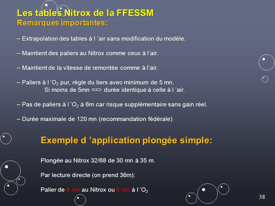 38 Les tables Nitrox de la FFESSM Remarques importantes: – Extrapolation des tables à l 'air sans modification du modèle. – Maintient des paliers au N