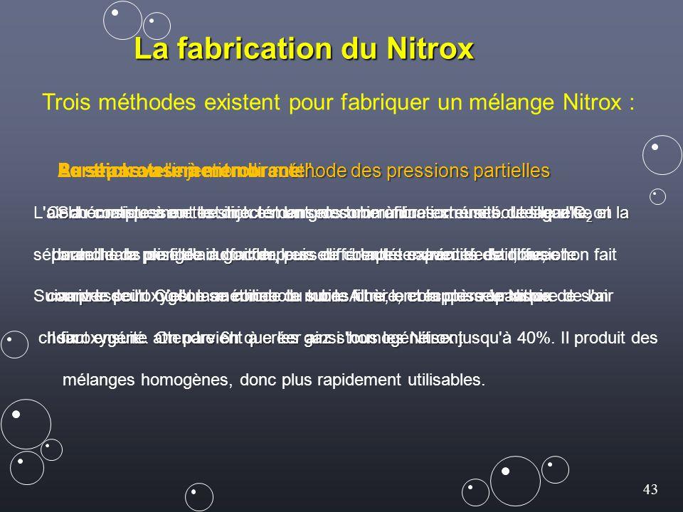 43 La fabrication du Nitrox Trois méthodes existent pour fabriquer un mélange Nitrox : méthode des pressions partielles Par transvasement ou méthode d