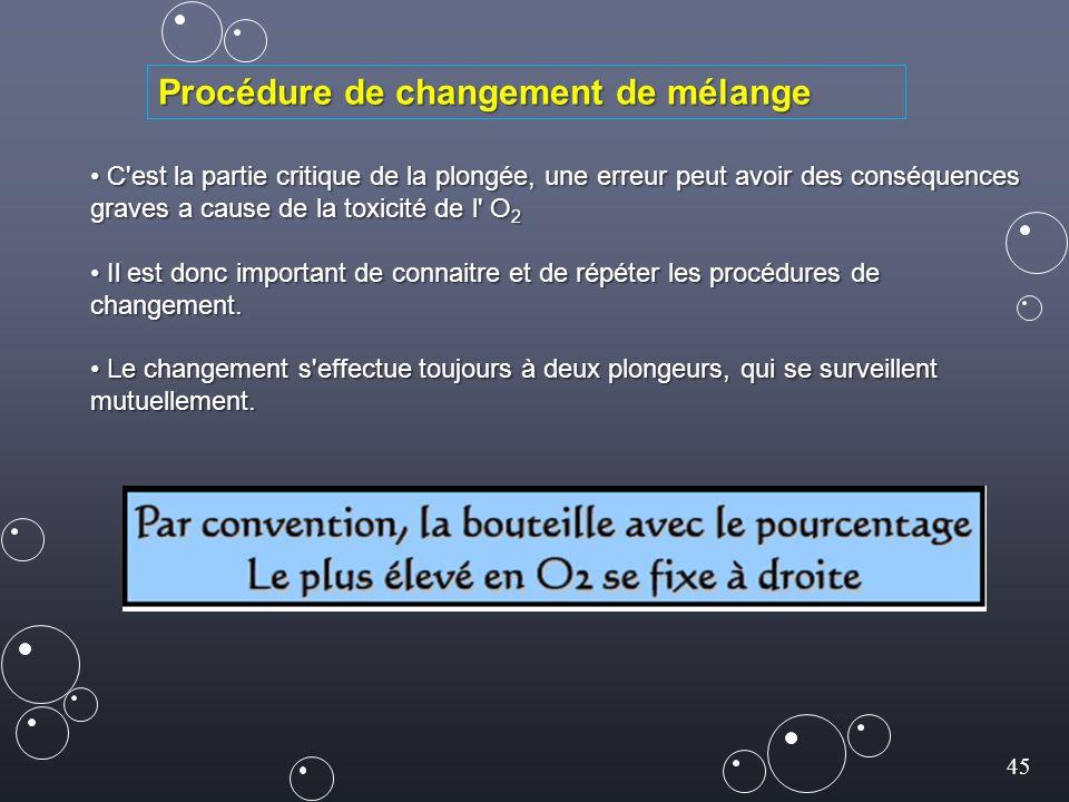 45 C est la partie critique de la plongée, une erreur peut avoir des conséquences graves a cause de la toxicité de l O 2 C est la partie critique de la plongée, une erreur peut avoir des conséquences graves a cause de la toxicité de l O 2 Il est donc important de connaitre et de répéter les procédures de changement.