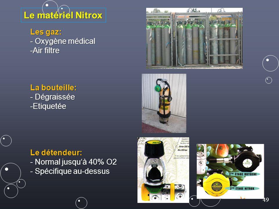 49 Les gaz: - Oxygène médical -Air filtre La bouteille: - Dégraissée -Etiquetée Le détendeur: - Normal jusqu'à 40% O2 - Spécifique au-dessus Le matéri