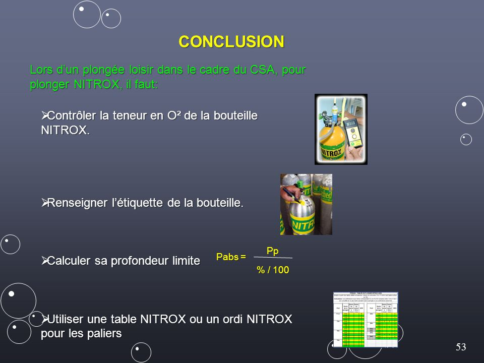 53 CONCLUSION Lors d'un plongée loisir dans le cadre du CSA, pour plonger NITROX, il faut:  Contrôler la teneur en O² de la bouteille NITROX.  Rense