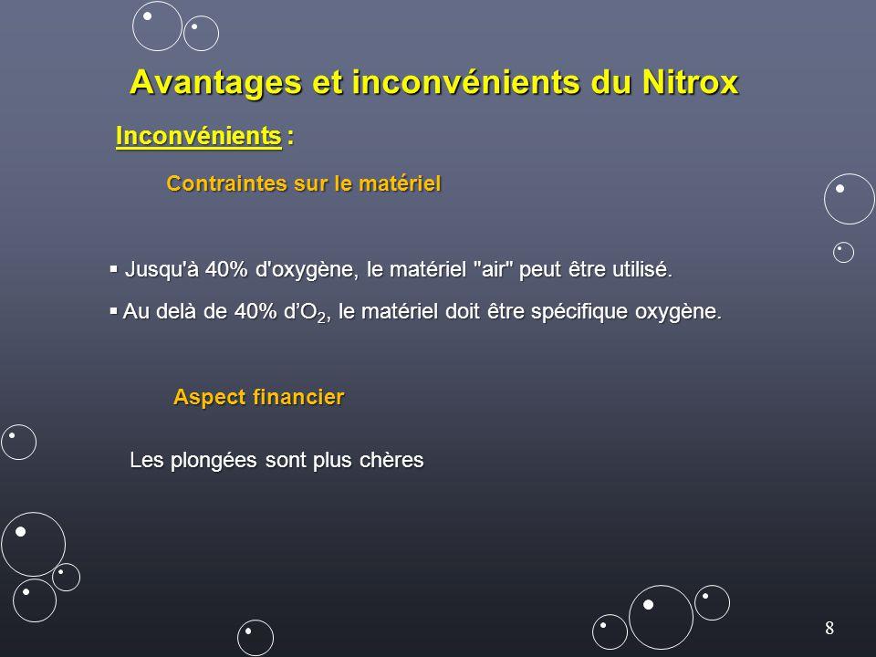 8 Avantages et inconvénients du Nitrox Inconvénients : Contraintes sur le matériel  Jusqu à 40% d oxygène, le matériel air peut être utilisé.