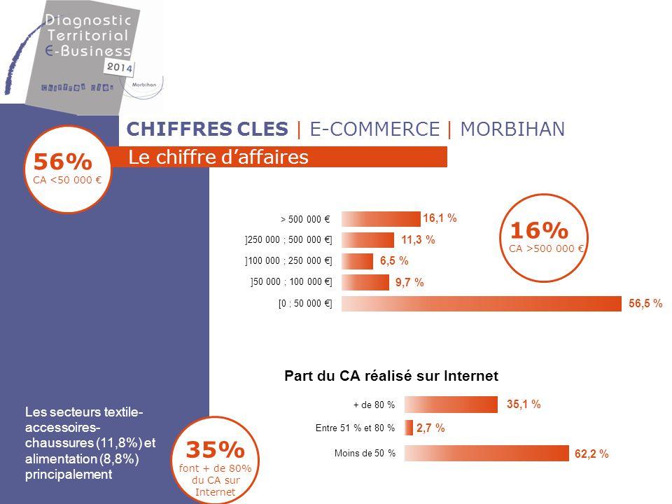 CHIFFRES CLES | E-COMMERCE | MORBIHAN Le chiffre d'affaires 2 secteurs connaissent une évolution de leur CA - Textile, accessoires, chaussures (16,7%) - Alimentation (13,3%) 4 secteurs représentent 73% du CA - Textile, accessoires, chaussures (31%) - Alimentation (18%) - Produits techniques (11,7%) - Ameublement décoration (11,7%) Un CA < à 50 k€ pour moitié d'entre eux mais qui globalement progresse 54% CA qui progresse