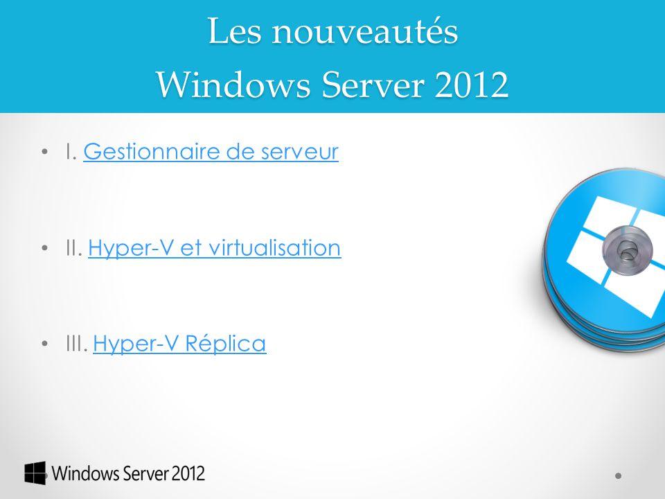 Windows Server 2012 I. Gestionnaire de serveurGestionnaire de serveur II. Hyper-V et virtualisationHyper-V et virtualisation III. Hyper-V RéplicaHyper
