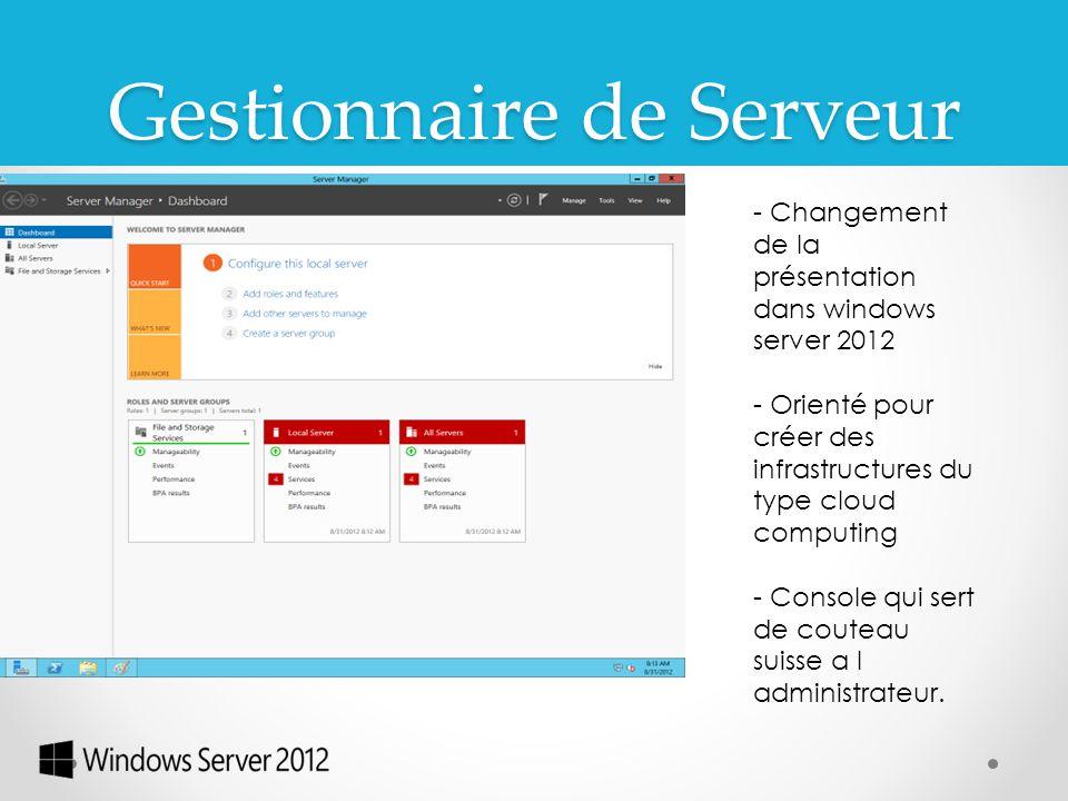 Gestionnaire de Serveur - Changement de la présentation dans windows server 2012 - Orienté pour créer des infrastructures du type cloud computing - Co