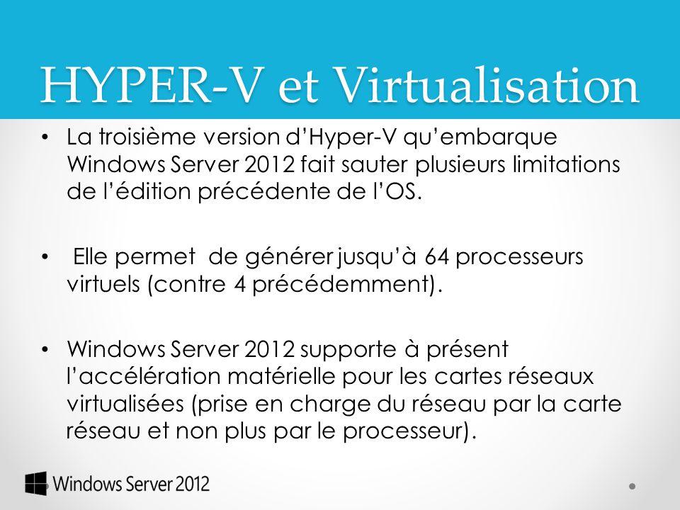La troisième version d'Hyper-V qu'embarque Windows Server 2012 fait sauter plusieurs limitations de l'édition précédente de l'OS. Elle permet de génér
